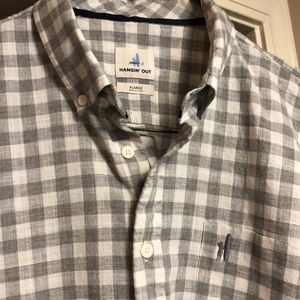 Johnnie-O Hangin' Out Gray/White Check Shirt EUC